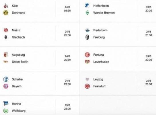 Lịch thi đấu tuần Bundesliga tuần này