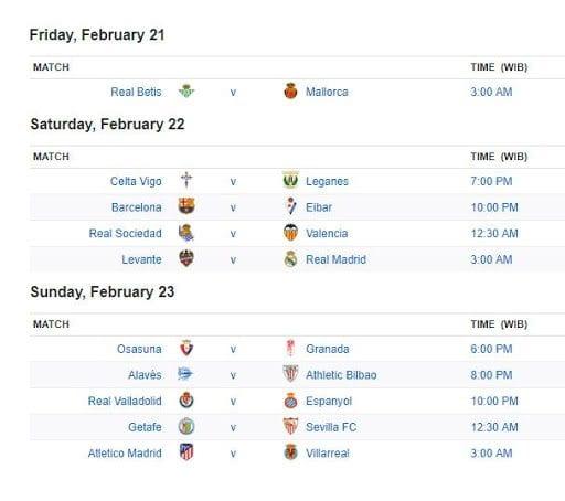 Lịch thi đấu tuần La Liga tuần này